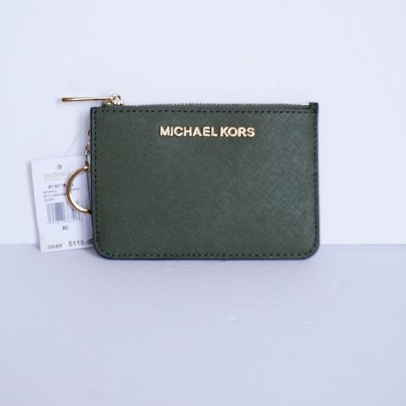 Michael Kors Jet Set CoinPouch Wallet Green Duffle NWT